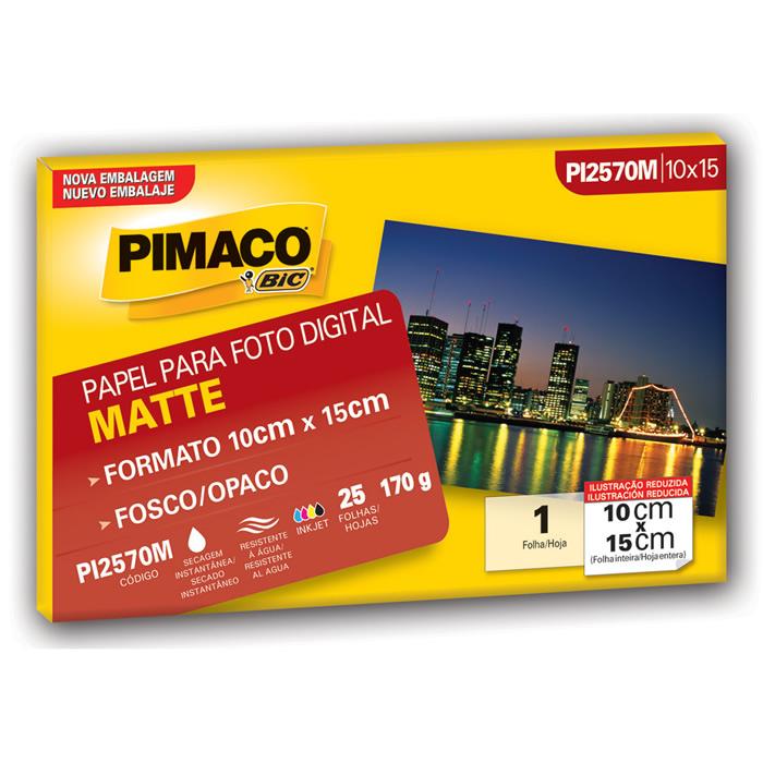 Papel Mate Fosco 170g Envelopes 25 Fls (10x15) PI127191 Pimaco