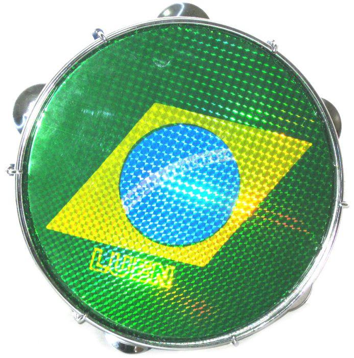 Pandeiro Luen 10 Brasil ARO ABS Amarelo Pele Holográfica Bandeira Brasil 40066 AM/BDS
