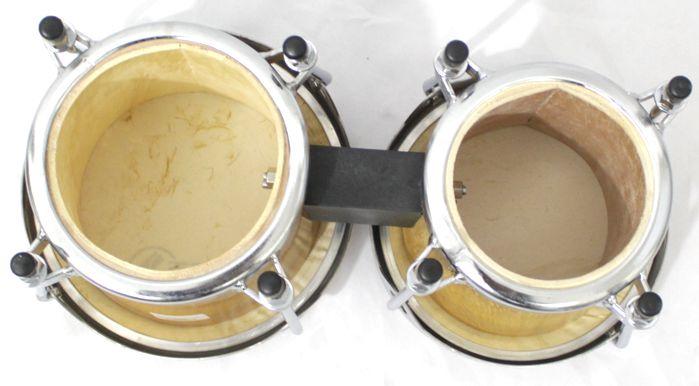 Bongo Madeira Pele Natural Médio de 6 e 7 Polegadas da Luen - Ferragens Cromadas - 45004