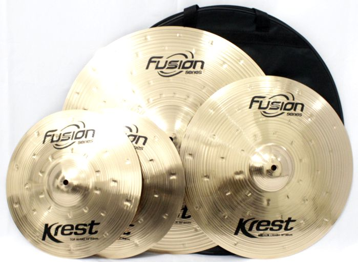 Kit de Pratos Fusion KREST CYMBALS - Chimbal 13 - Ataque 16 - Ride 20 - Bronze B8 - com BAG