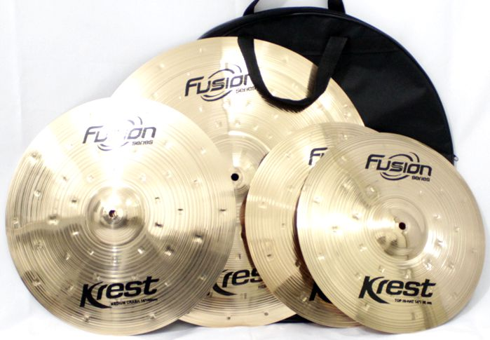Kit de Pratos Fusion KREST CYMBALS - Chimbal 14 - Ataque 16 - Ride 20 - Bronze B8 - com BAG