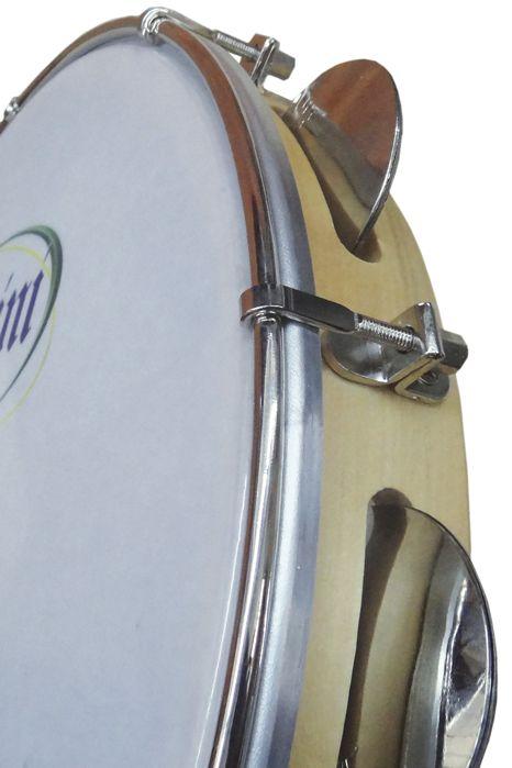 Pandeiro Rozini Profissional 10 Tarraxa Simples Pele Branca Porosa e ARO em Madeira RPP10AS