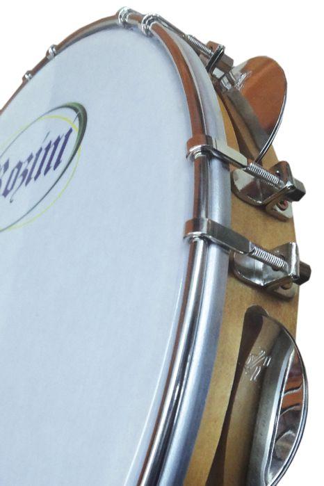 Pandeiro Rozini Profissional 10 Tarraxa Duplas Pele Branca Porosa e ARO em Madeira RPP10AD
