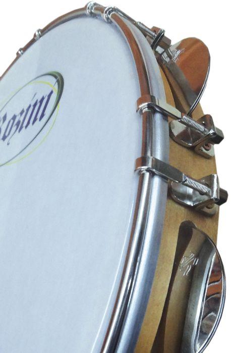 Pandeiro Rozini Profissional 11 Tarraxas Duplas Pele Branca Porosa e ARO em Madeira RPP11AD