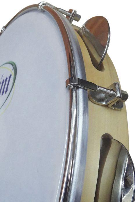Pandeiro Rozini Profissional 12 Tarraxa Simples Pele Branca Porosa e ARO em Madeira RPP12AS