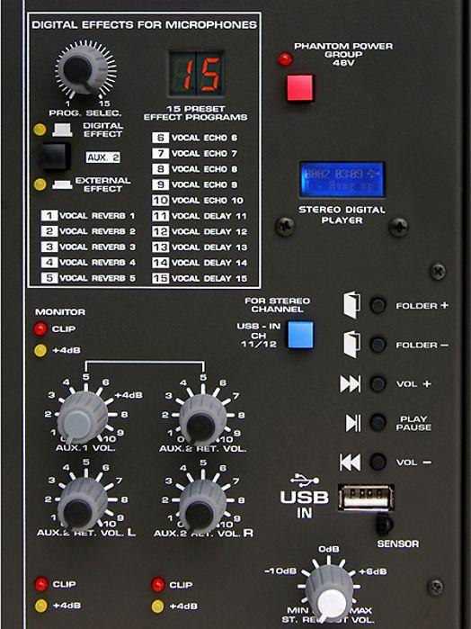 Mesa de Som Wattson com 8 Canais com Canal Balanceado + Processador Digital de Efeitos + USB com Controle Remoto - AMBW 8 XDF