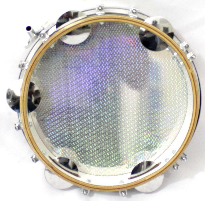 Pandeiro Luen 10 ARO em Madeira Branco e Pele Holográfica Vermelha - 40033-BR-VE