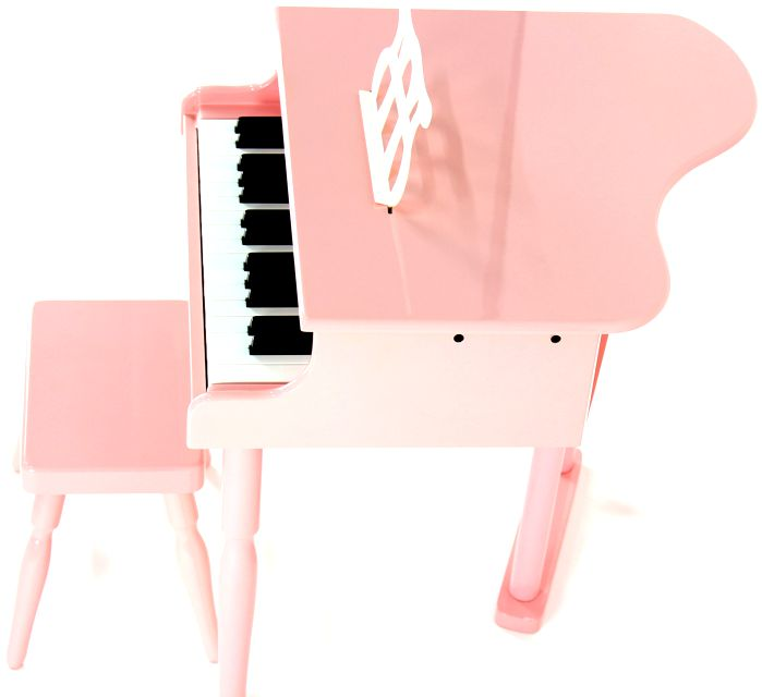 Piano Infantil Caudinha - Piano de Cauda de Madeira Pequeno com Banquinho Custom Rosa