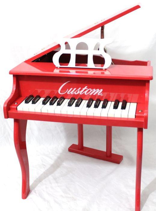 Piano Infantil Caudinha - Piano de Cauda de Madeira Pequeno com Banquinho Custom Vermelho