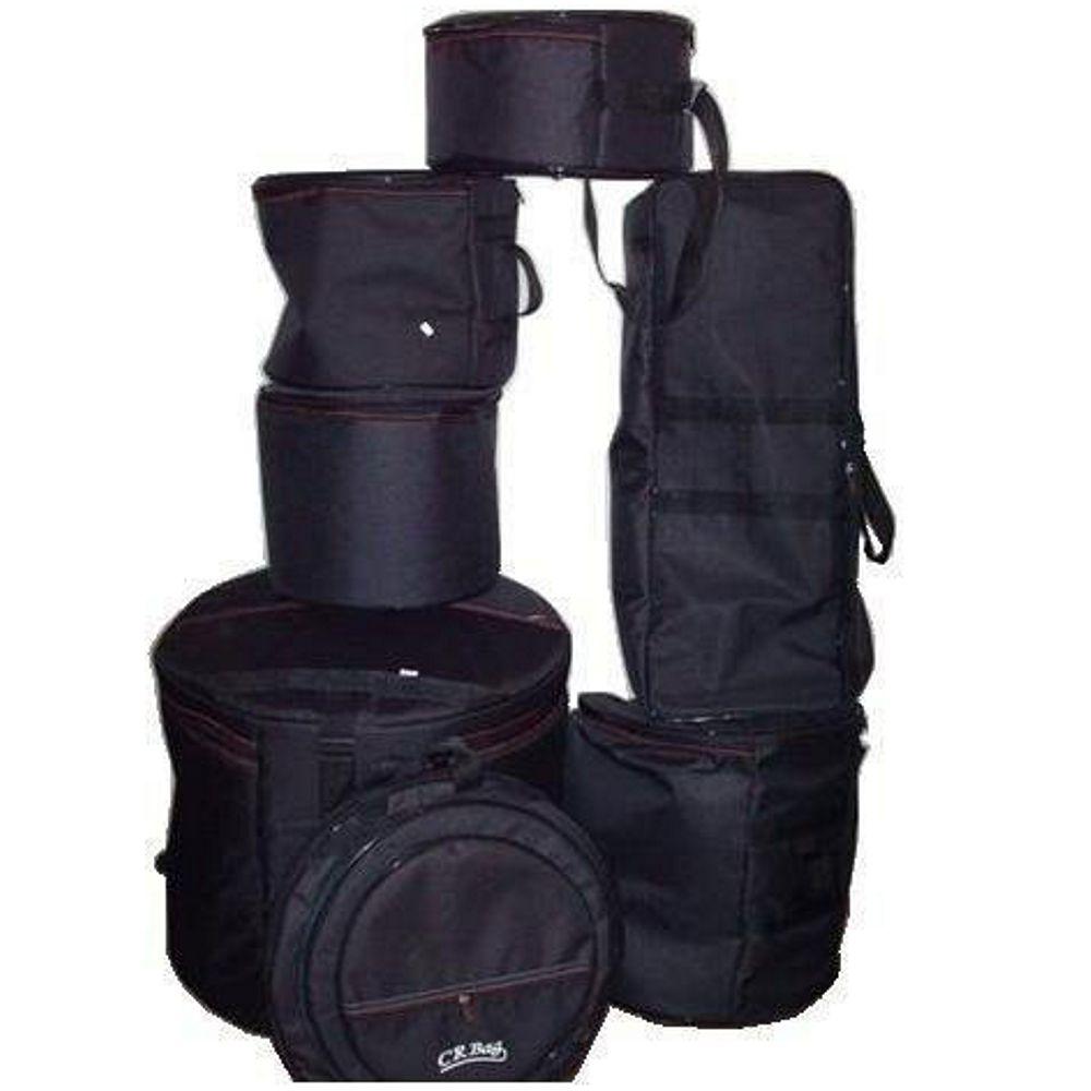 Jogo de BAG CRBAG para Bateria Luxo 7 Peças Estofadas Capas CRBAG Reduzido Fusion - Bumbo 20 (10+12+14+CX14 + Ferragem + Prato)