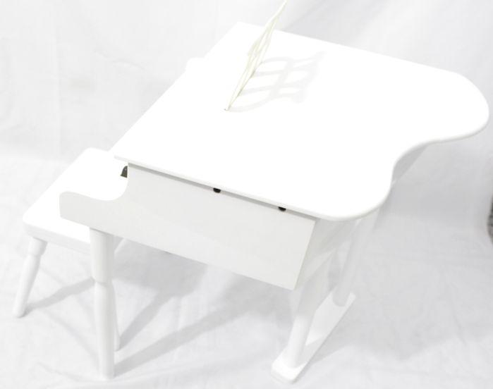 Piano Infantil Caudinha - Piano de Cauda de Madeira Pequeno com Banquinho Custom Branco