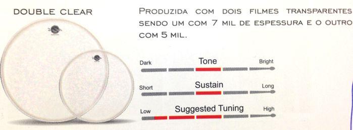 Pele de TOM e Caixa e Surdo de Bateria 14 Double Clear - Dudu Portes - Luen - 11021