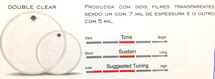 Pele de Bumbo e Surdo de Bateria 18 Double Clear - Dudu Portes - Luen - 11024
