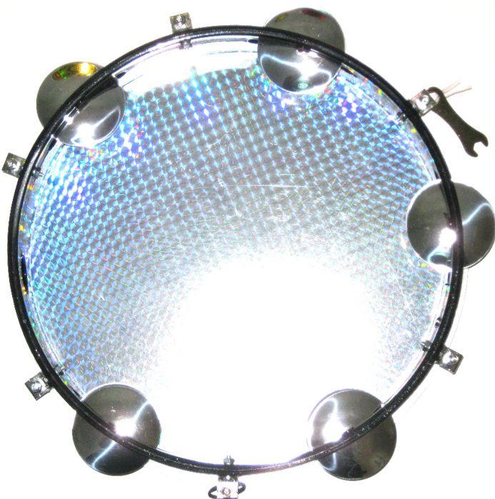 Pandeiro Luen 10 ARO ABS Branco Pele Holográfica AZUL