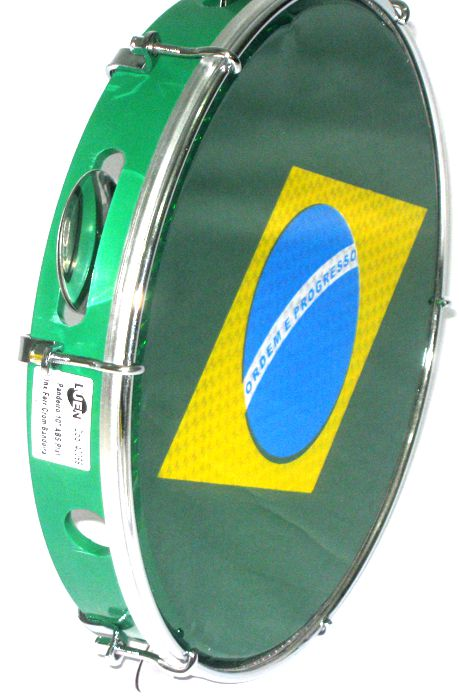Pandeiro Luen 10 Brasil ARO ABS Verde Pele Holográfica Bandeira Brasil 40066 VD/BDS