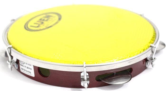 Pandeiro Luen 10 ARO ABS Vermelho Pele Holográfica Amarela