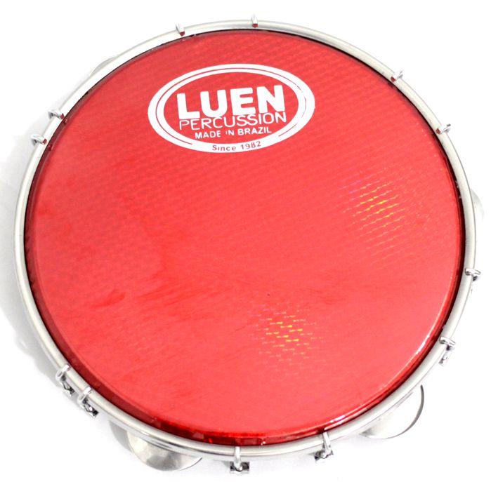 Pandeiro Luen 10 ARO em Madeira Preto e Pele Holográfica Vermelha - 40033PT/VM