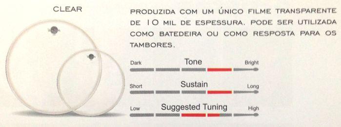 Jogo de Pele de Resposta de Bateria 10 - 12 - 14 Clear - Dudu Portes - Luen