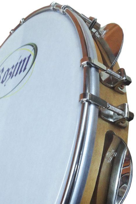 Pandeiro Rozini Profissional 12 Tarraxas Duplas Pele Branca Porosa e ARO em Madeira RPP12AD