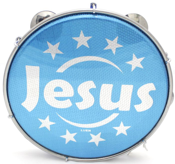 Pandeiro Luen 10 Jesus ARO ABS AZUL Pele Holográfica AZUL - 40221AZ/JS