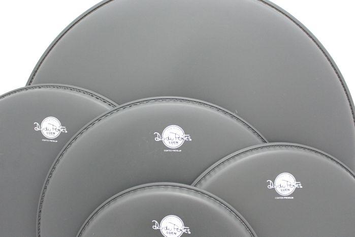 Jogo de Pele de Bateria - 10 - 12 - 14 - 14 - 20 - Coated Premium - Dudu Portes - Porosa - Luen - Reduzido Fusion 20 (bumbo 20)