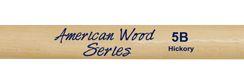 Baquetas 5B em Hickory Liverpool American Wood Ponta de Madeira HY 5BM - Pacote com 5 Pares