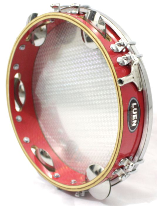 Pandeiro Luen 10 ARO em Madeira Vermelho e Pele Holográfica Vermelha - 40033VM/VM
