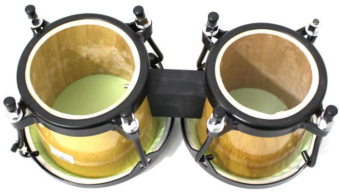 Bongo Madeira Pele Sintetica Médio de 6 e 7 Polegadas da Luen - Ferragens Pretas - 45017