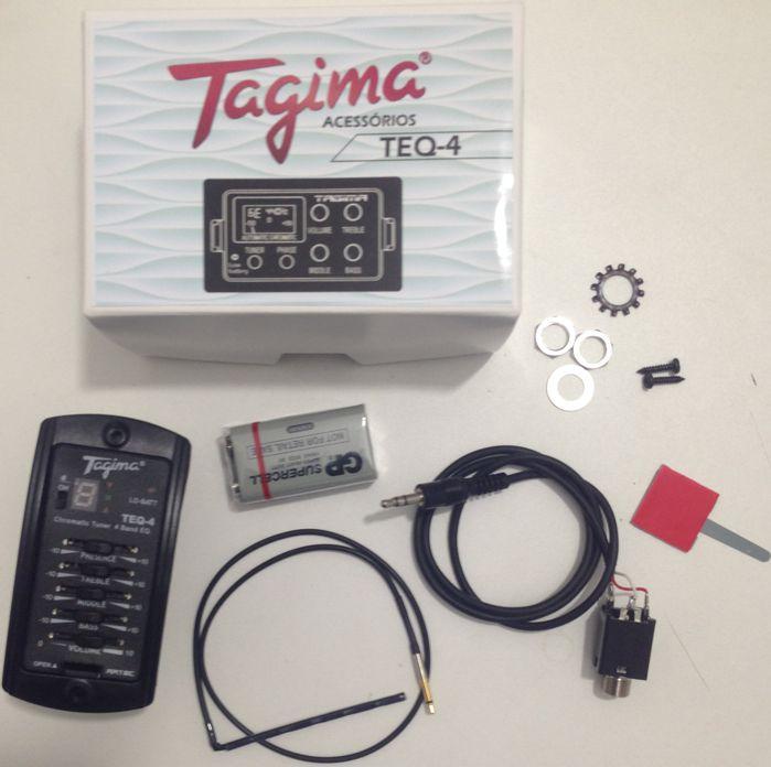 Captador de Violão Tagima TEQ-4 com Afinador e Equalizador 4 Bandas