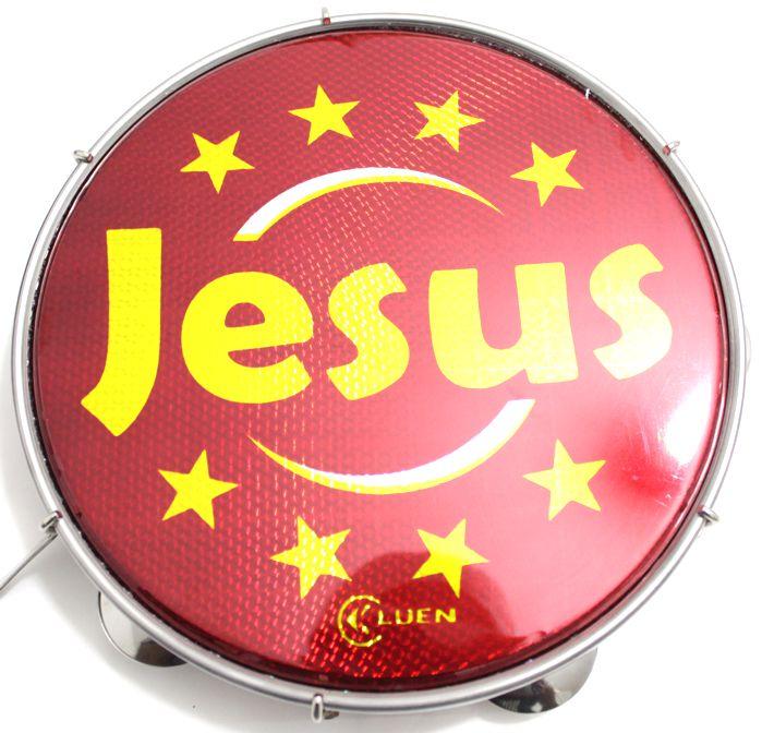 Pandeiro Luen 10 Jesus ARO ABS Vermelha Pele Holográfica Vermelha