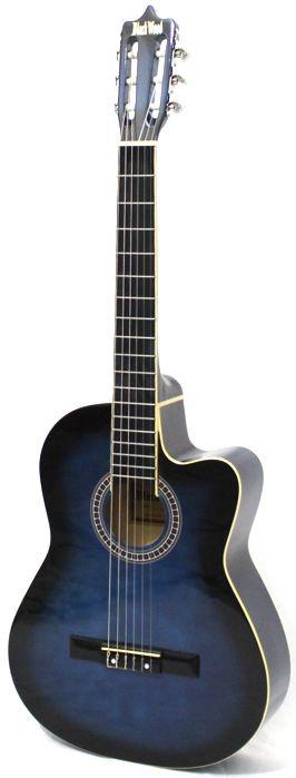 Violão Austin Clássico NYLON com CUT WAY MAG5 AZUL - BLACK Wood - com Capa Simples