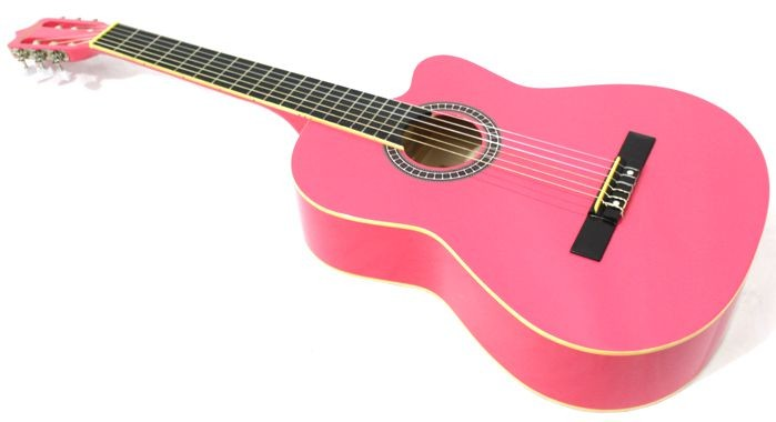 Violão Austin Clássico NYLON com CUT WAY MAG5 Rosa - BLACK Wood - com Capa Simples