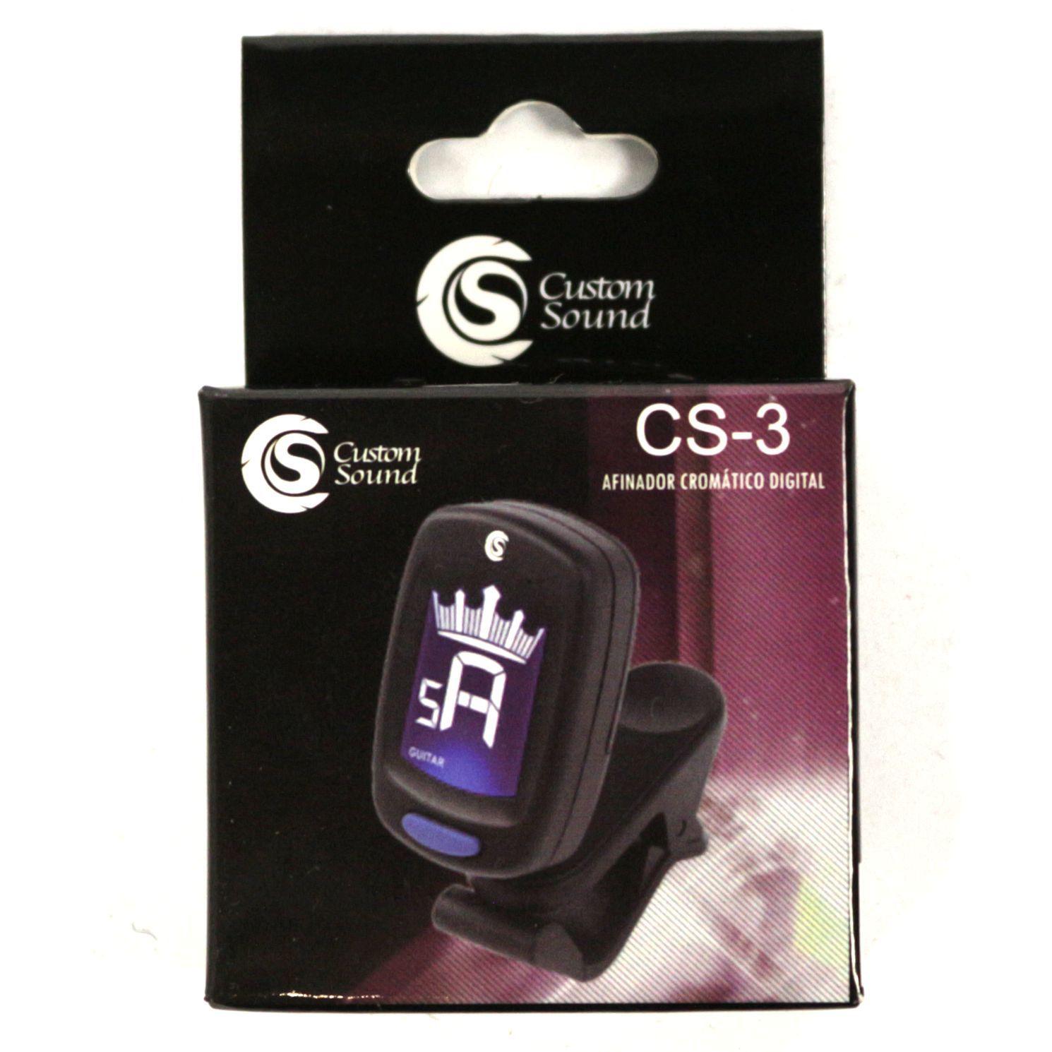 Afinador Eletrônico Custom Sound CS3BK Violão Guitarra Baixo Cavaquinho Viola Violino e Outros - CS3BK