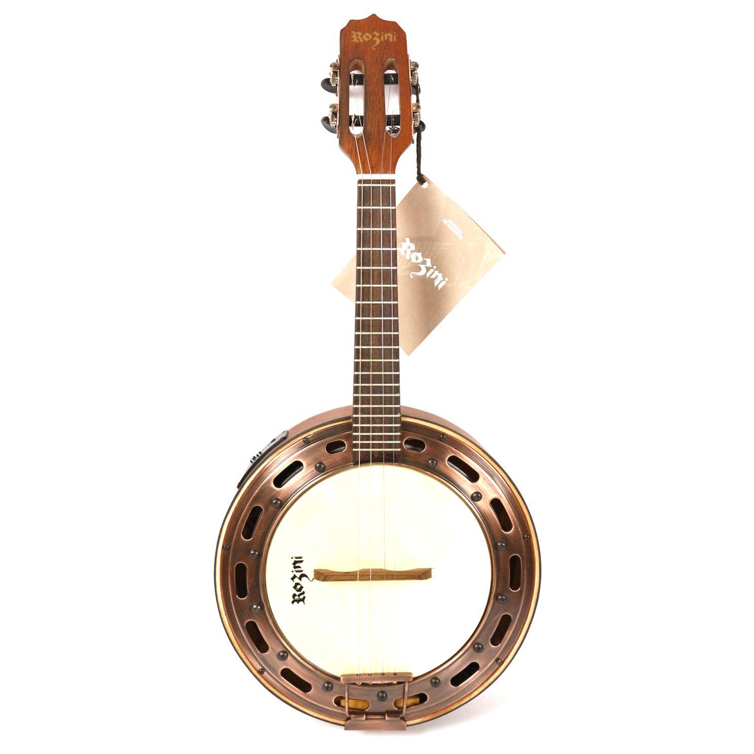 Banjo Rozini Estilo Elétrico Ativo com Afinador e Equalizador RJ15ATF