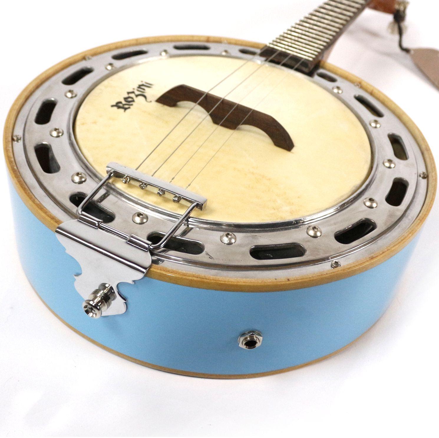 Banjo Rozini Studio AZUL Elétrico Mogno RJ11ELA
