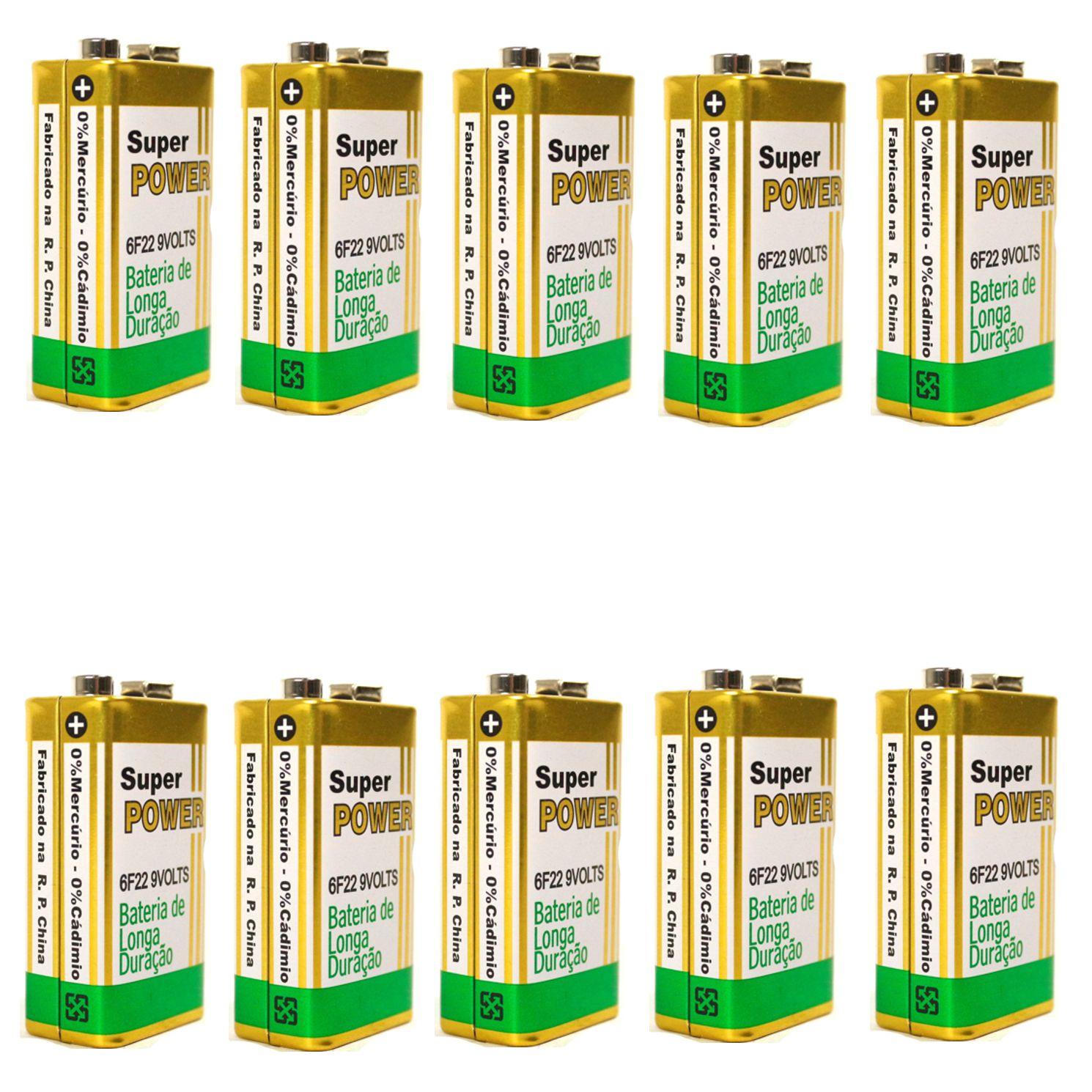 Bateria 9V de Carbono sem Mercúrio Super Power de ALTA Durabilidade - 10 Unidades
