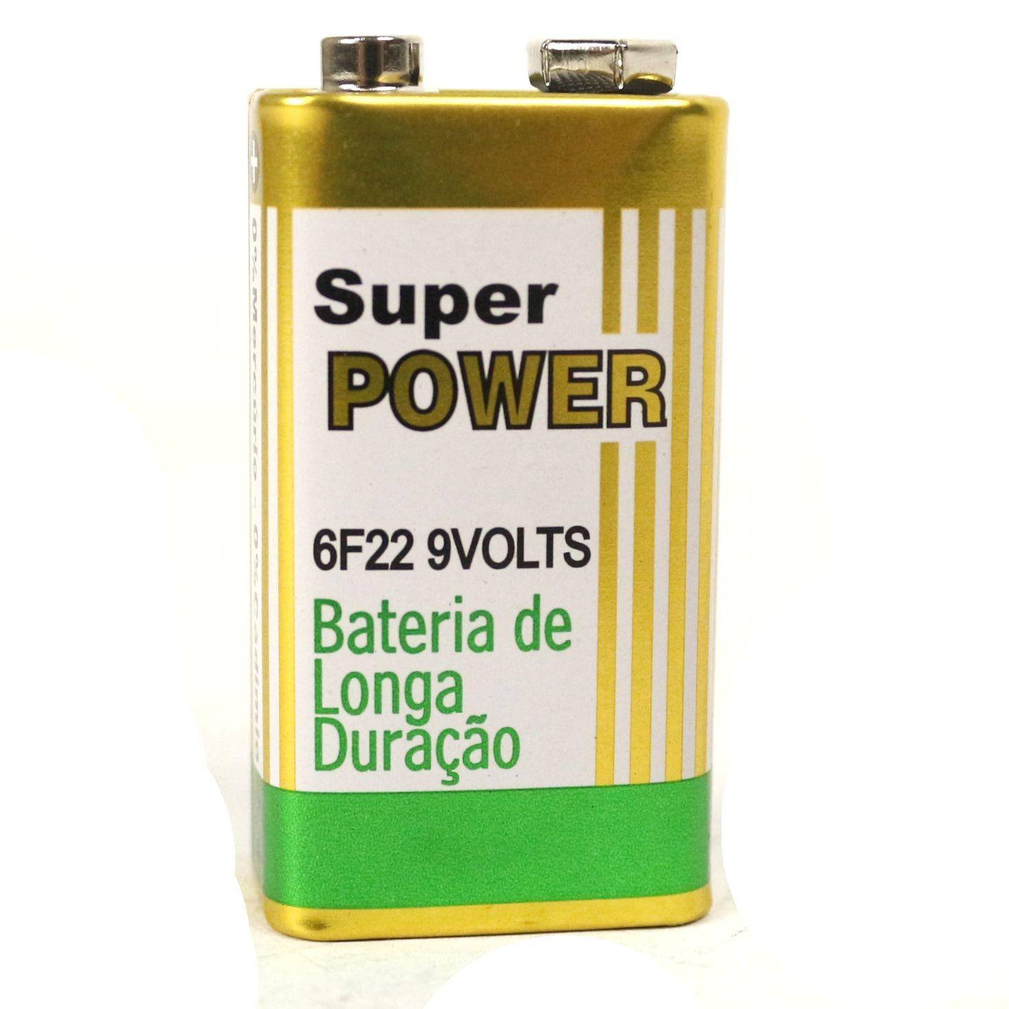 Bateria 9V de Carbono sem Mercúrio Super Power de ALTA Durabilidade - 20 Unidades