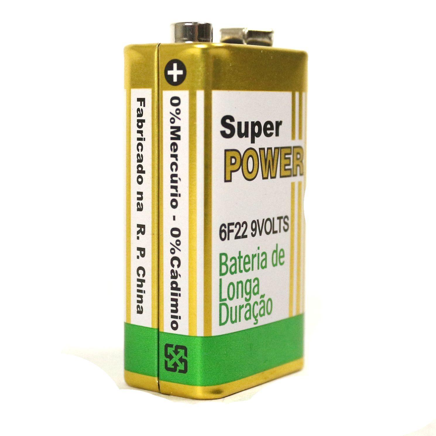 Bateria 9V de Carbono sem Mercúrio Super Power de ALTA Durabilidade