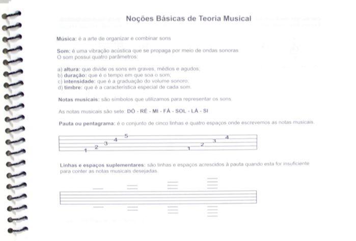 Caderno de Musica Pequeno 74 Páginas com Pauta / Pentagrama (37 Folhas)