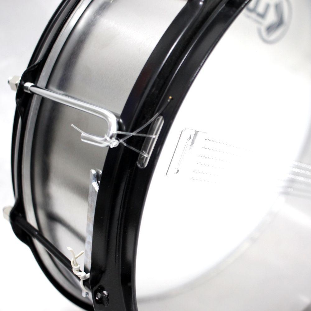 Caixa de Repique Samba e Guerra Luen 14 X 5 (polegadas) em Metal Escovado com 6 Afinações e Esteira Fixa - 21087