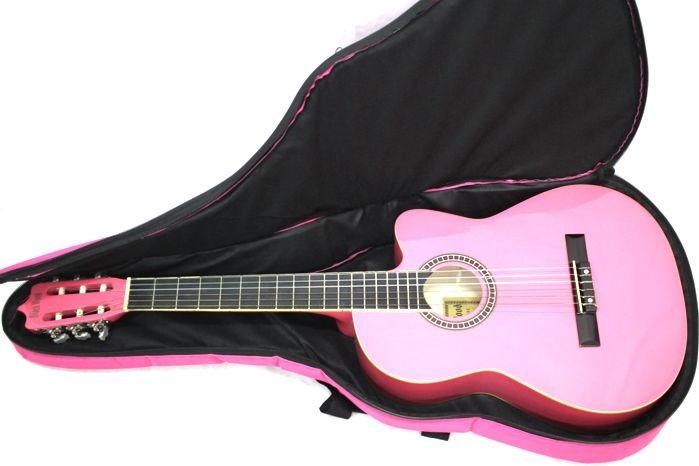 Capa JS EXTRA Luxo para Violão Rosa, NO Formato, Ziper Lateral, Bolso Frontal e ALÇA para Mochila - NA COR Rosa