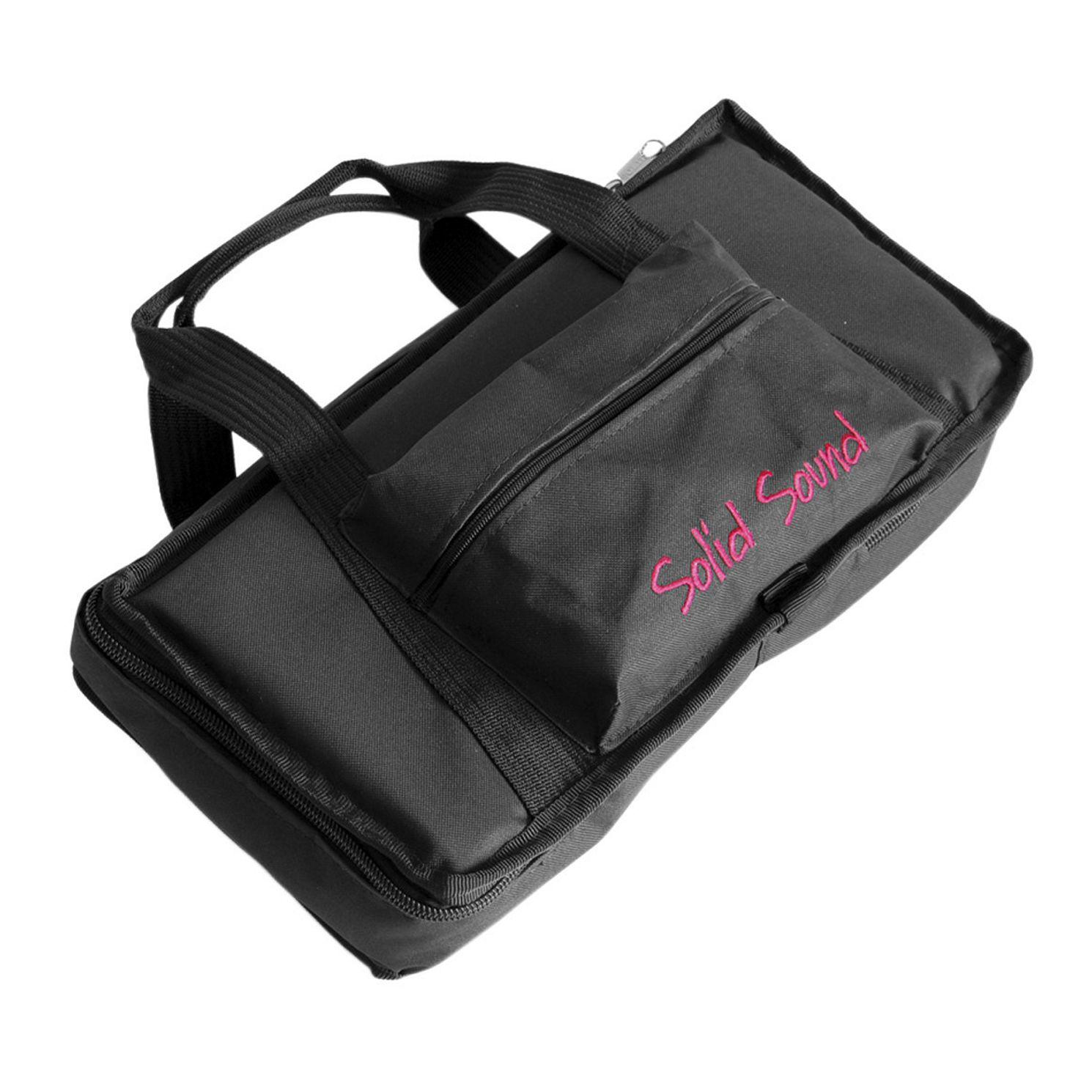 Capa Solid Sound Luxo Pequena para Pedaleira, Retangular,  Ziper Lateral, Bolso Frontal e ALÇA para Mão