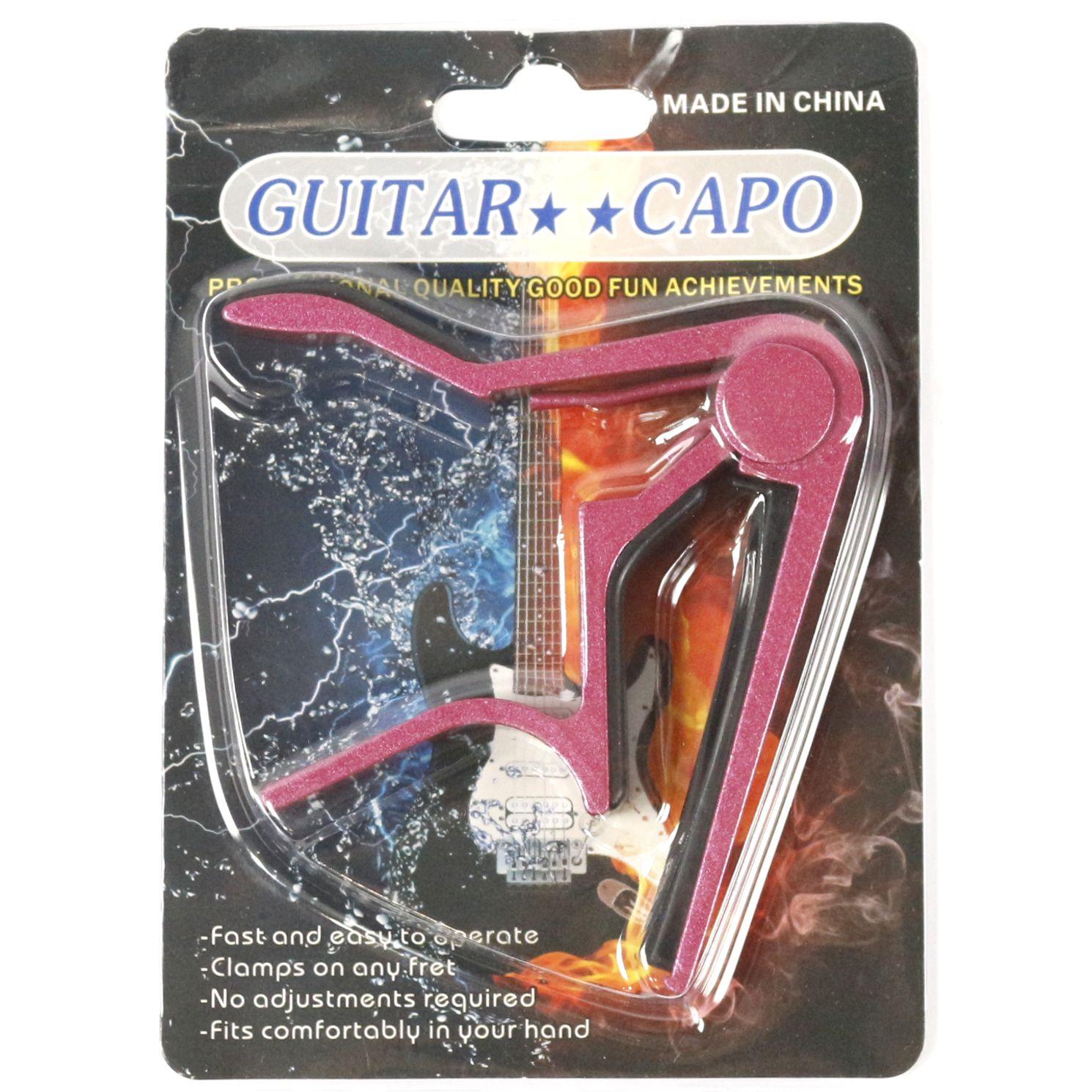 Capotraste para Guitarra e Violão AÇO em Metal Guitar Capo - Rosa