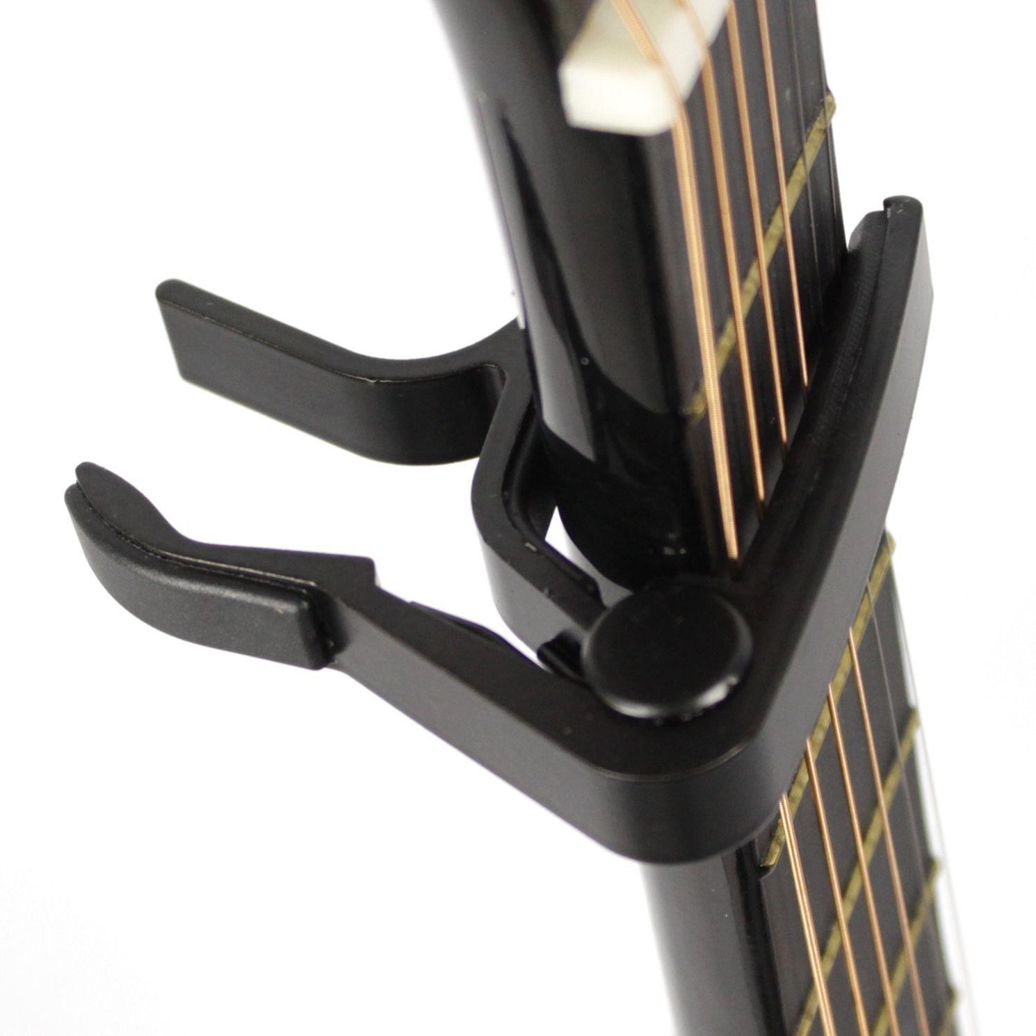 Capotraste para Guitarra e Violão AÇO em Metal Guitar Capo - Preto