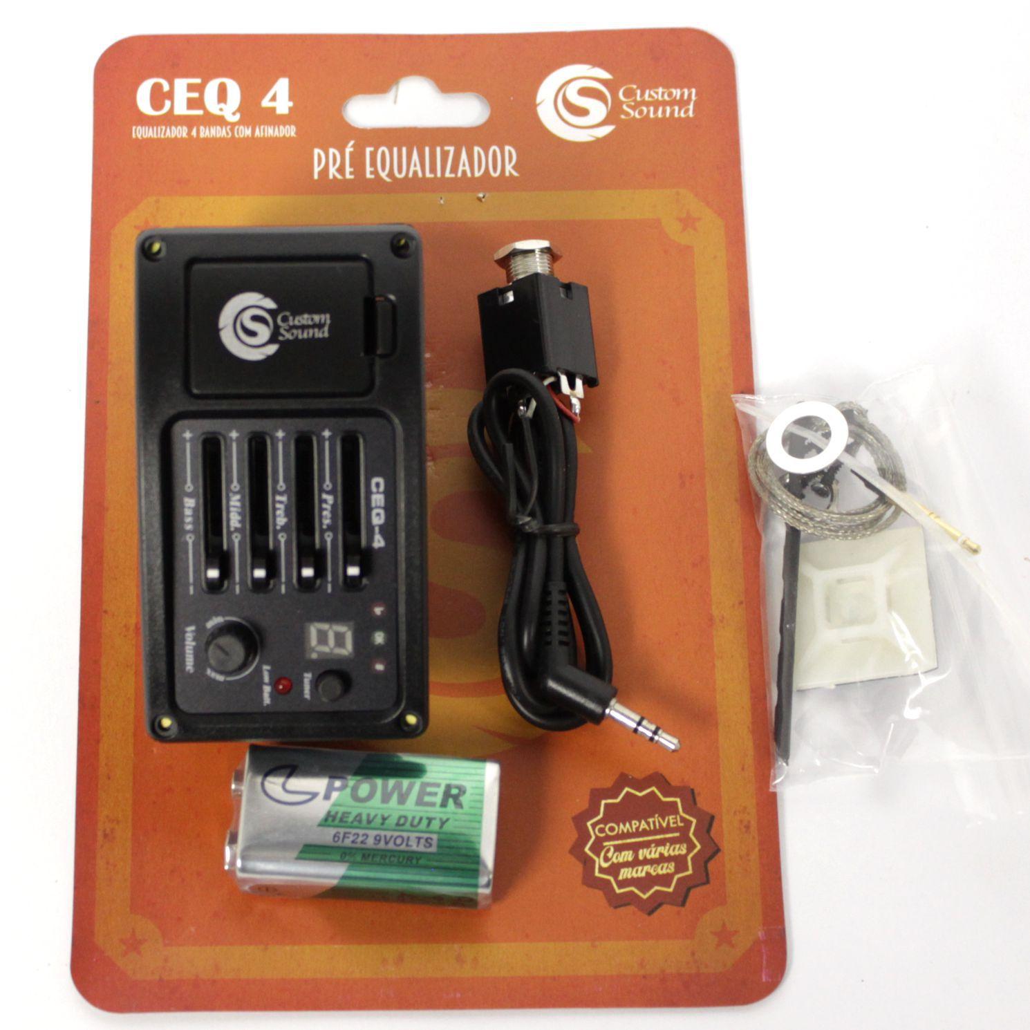 Captador de Violão Custom Sound CEQ-4 com Afinador e Equalizador 4 Bandas