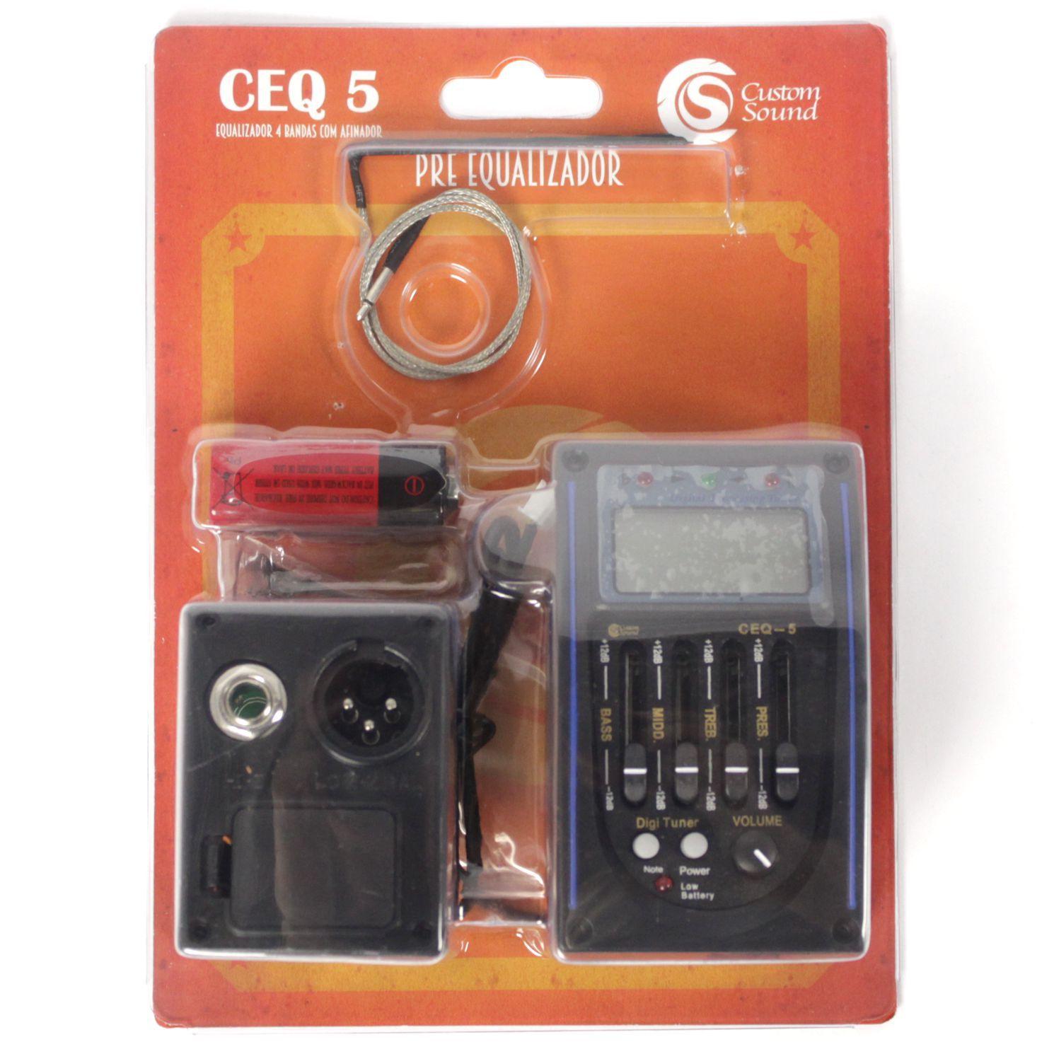 Captador de Violão Custom Sound CEQ-5 com Afinador e Equalizador 4 Bandas