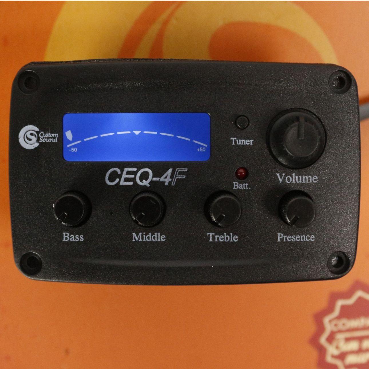 Captador de Violão FLAT Custom Sound CEQ-4F com Afinador e Equalizador 4 Bandas