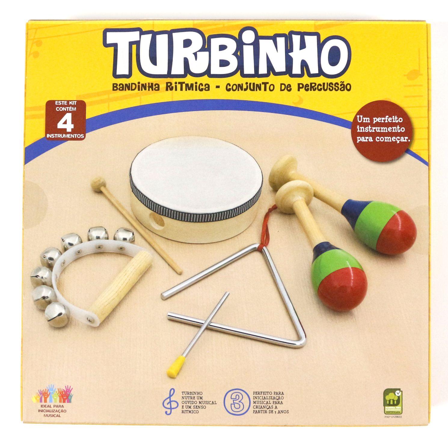 Conjunto de Percussão Infantil Turbinho - Banda Ritmica com 4 Instrumentos