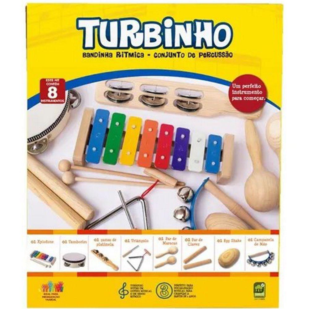 Conjunto de Percussão Infantil Turbinho - Banda Ritmica com 8 Instrumentos