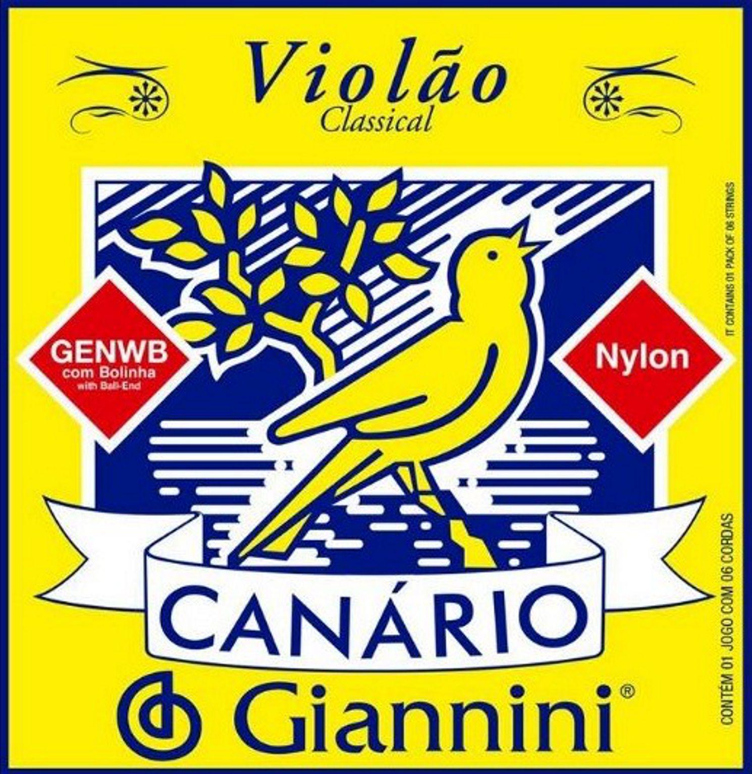 Encordoamento Giannini Canário Violão NYLON com Bolinha - Cordas de NYLON para Violão - GENWB